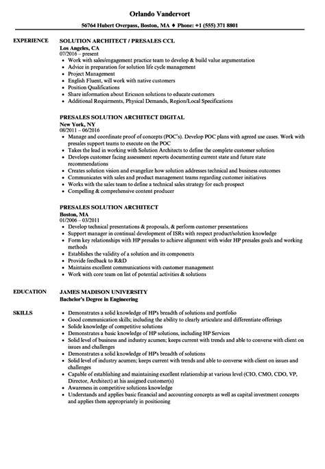 Solution Architect Cover Letter by Enterprise Architect Resume Sle Sle Resume For Retail