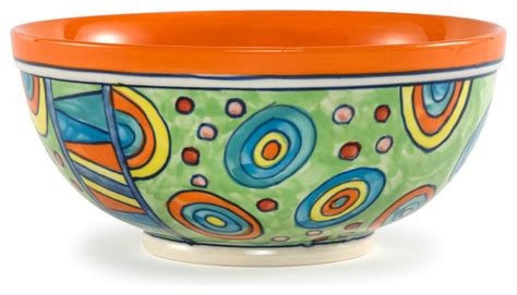 """Hand Painted Paisley Large Ceramic Salad Bowl, 9.5""""Dx4.5""""H, Paisley   Contemporary   Serving And"""