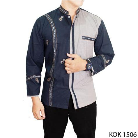 Baju Koko Lengan Panjang Katun baju koko modern lengan panjang katun kombinasi warna