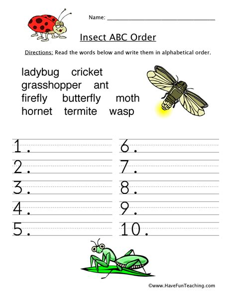 make your own abc order worksheet alphabetical order worksheet insects teaching