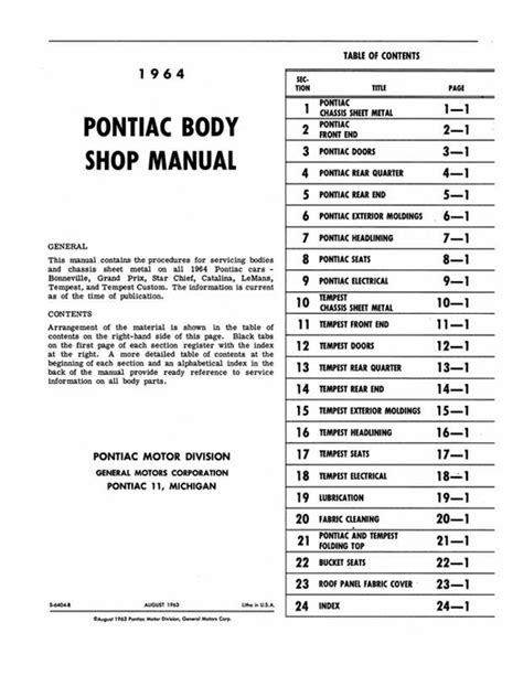 1964 pontiac tempest and lemans repair shop manual reprint 1964 pontiac body shop manual bonneville grand prix