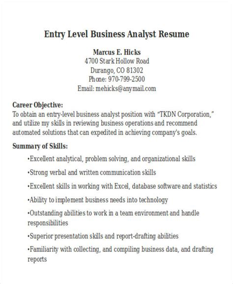 Resume Sles For Business Analyst Entry Level 26 Modern Business Resume Templates Free Premium Templates