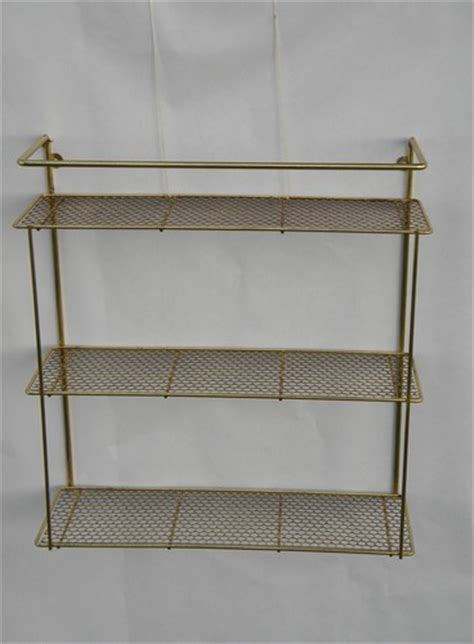 Hanging Wall Shelves 2 Retro Vintage Hanging Wall Shelf Units With Metal Mesh