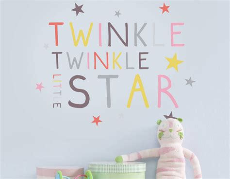 childrens wall stickers children s pastel twinkle twinkle wall sticker