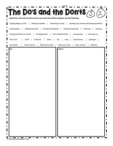 Conflict Resolution Worksheet by Do S And Don Ts Of Conflict Resolution Worksheets