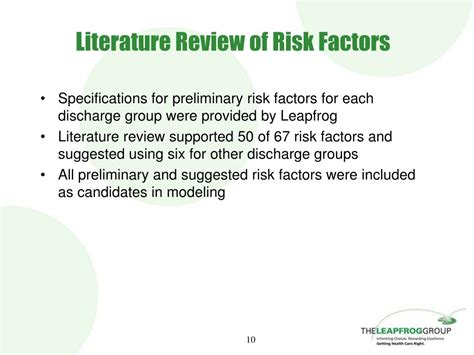 Risk Literature Review ppt leapfrog s resource utilization measures severity adjustment models powerpoint