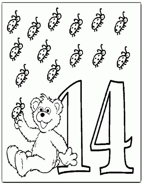 coloring pages of the number 14 number 14 coloring page coloring home