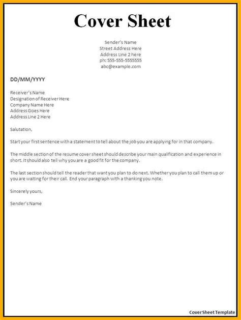 cover page letter sle cover sheet template 9 free documents 9