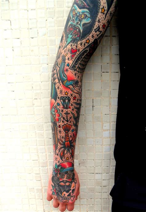 traditional sleeve tattoo traditional sleeve tie it all together later with