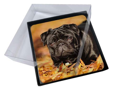 black pug gifts 4x black pug picture table coasters set in gift box id 11535