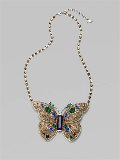 abs by allen schwartz butterfly pendant necklace lyst