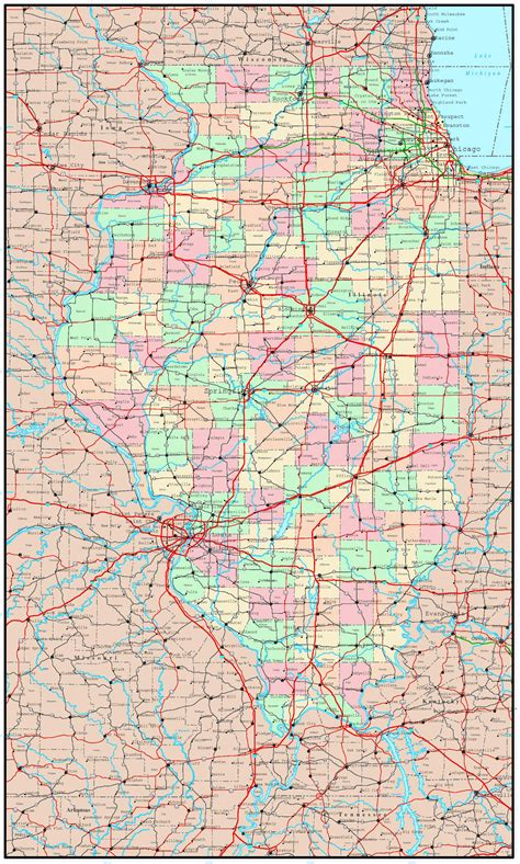 illinois on the map of usa large detailed administrative map of illinois state with