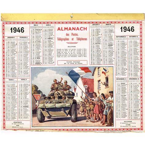 Calendrier De 1945 Calendrier Almanach Des Postes 1946