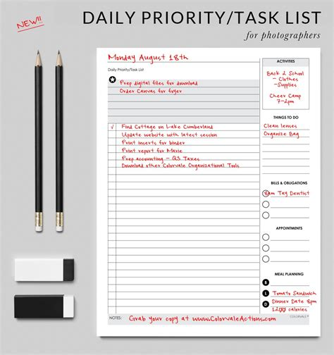 weekly priorities template daily priority task list get organized today with this