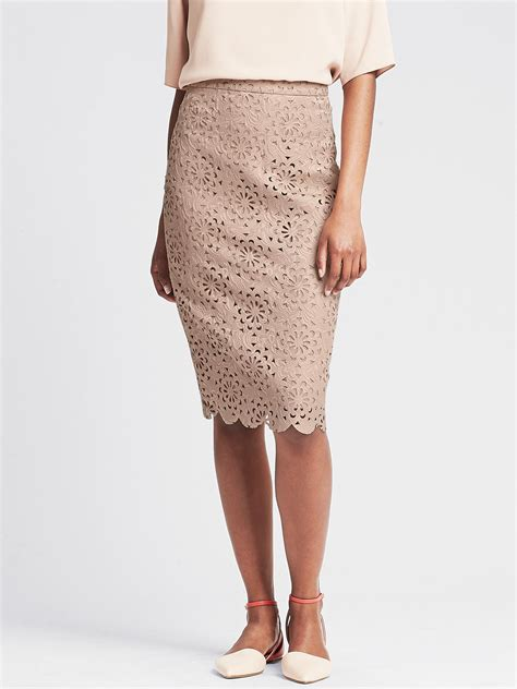 banana republic br monogram cutout lace pencil skirt in