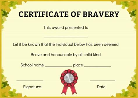 bravery certificate template bravery certificate 12 free printable templates to reward