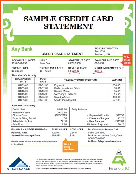 Credit Card Number Format Html Credit Card Statement Sle Credit Card Statement 1 Png