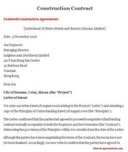 construction work contract template sell a of free free service