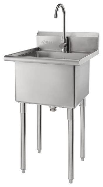 trinity stainless steel utility sink transitional