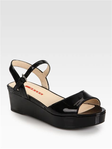 black leather platform sandals prada patent leather platform sandals in black nero black