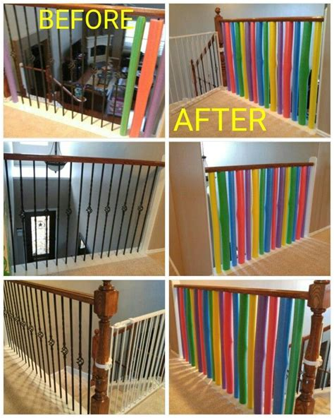 baby proofing banisters banisters pool noodles and noodles on pinterest