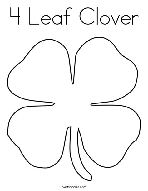 4 Leaf Clover Coloring Page Twisty Noodle Four Leaf Clover Color Page