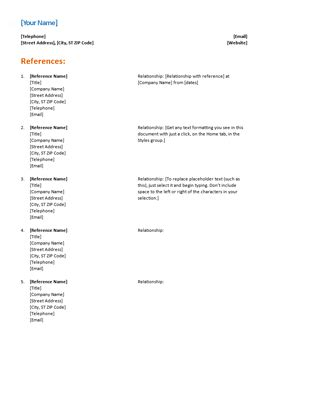 reference list template word reference list for resume functional design office