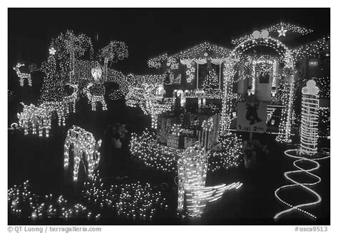 black and white picture of a christmas light black and white picture photo house lights san jose california usa