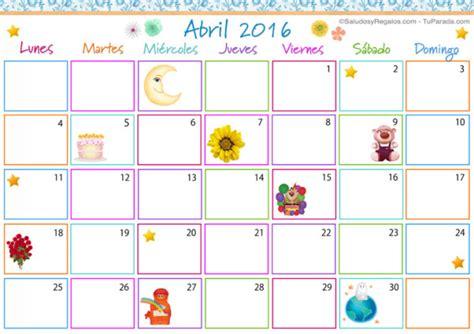 Calendario De Abril Im 225 Genes De Calendarios Infantiles De Abril 2016 Para