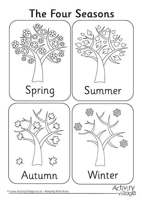four seasons colouring page saison automne pinterest