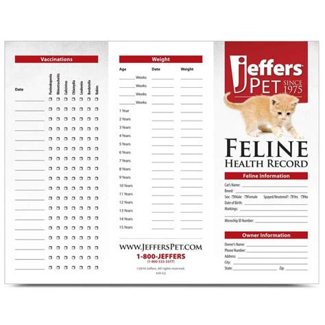 Pet Health Record Template by Jeffers Cat Health Records Jeffers Pet