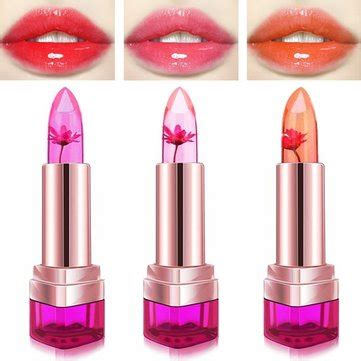 lip color changer 3 colors jelly flower lipstick temperature color changing