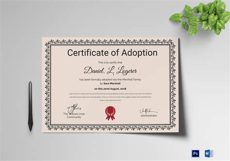 certificate of adoption template happy adoption certificate design template in psd word