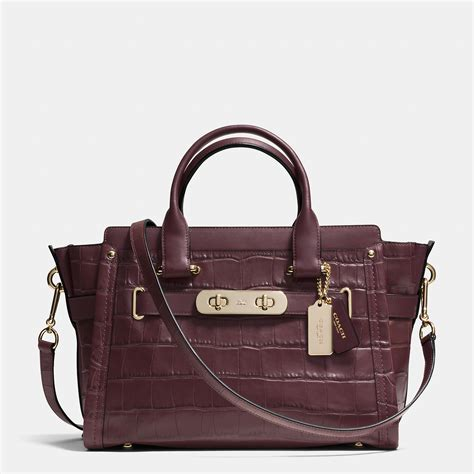 Coach Emboss lyst coach swagger croc embossed shoulder bag in purple