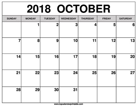 printable calendar october 2018 october 2018 calendar