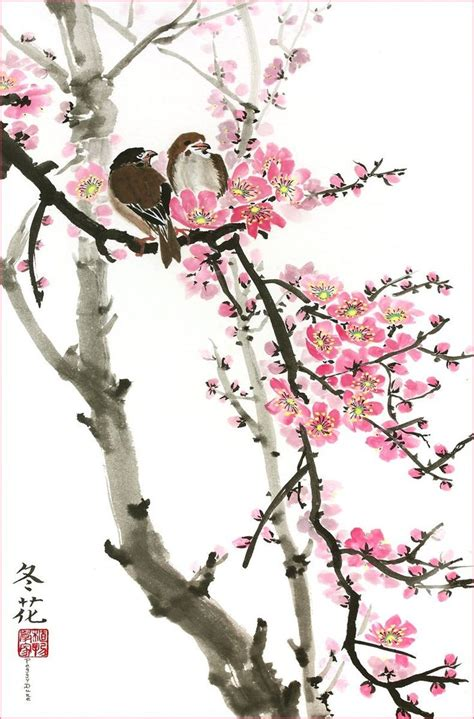 cherry blossom branch speed painting 100 ideas to try about birds and cherry blossoms