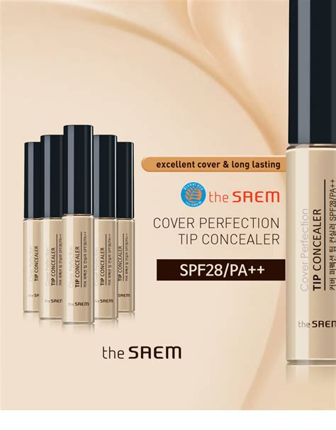 The Saem Cover Perfection Tip Concealer 01 Clear Beige the saem cover perfection tip concealer rich beige spf28 pa 6 8g ebay