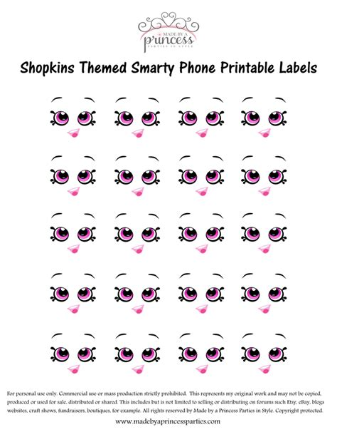 printable shopkins eyes shopkins inspired smarty phone party favor