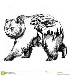 vector bear double exposure tattoo art canada mountains