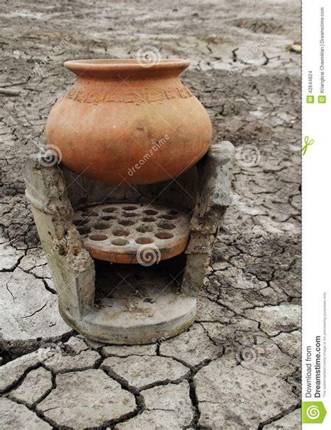 clay pot  ancient stove stock photo image