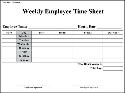 card docs template docs timesheet template employee weekly time sheet