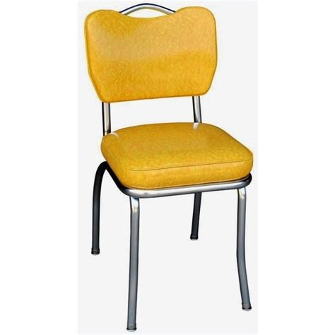 Retro Chrome Dining Chairs Seating Retro 1950s Handle Back Chrome Diner Dining Chair In Cracked Yellow Ebay