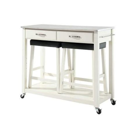 white kitchen island with stainless steel top crosley 42 in stainless steel top kitchen island cart with two 24 in upholstered saddle stools