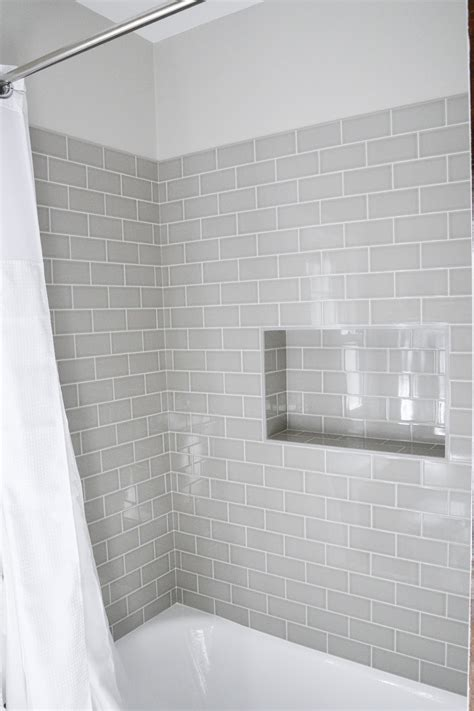 bathroom shower niche modern traditional bath gray subway tiles shower niche