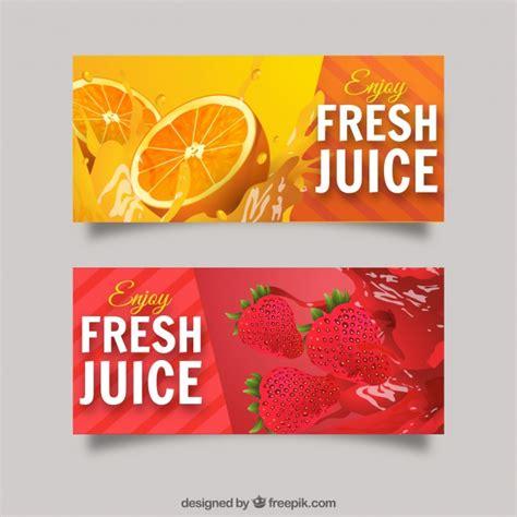 design banner juice banners realistas com sumos de laranja e morango baixar