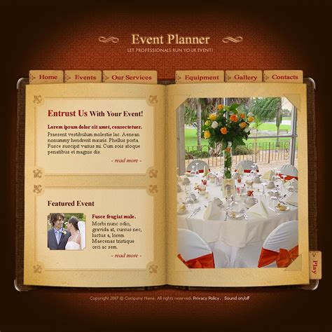 wedding planner website templates event planner flash template 13026