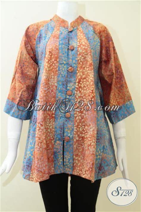 Baju Batik Warna Biru baju blus batik fatin kombinasi warna biru orange keren gaul modern bls1267cs s toko