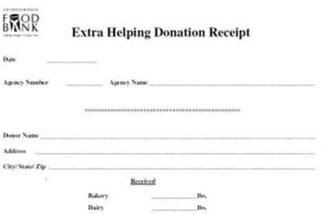 Food Donation Receipt Template by Helpings Los Angeles Regional Food Bank