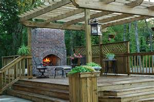 Decks With Fireplaces custom wood deck outdoors fireplace