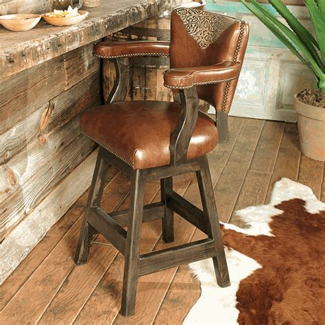 Western Leather Bar Stools by Western Furniture Waller Western Tooled Leather Barstool